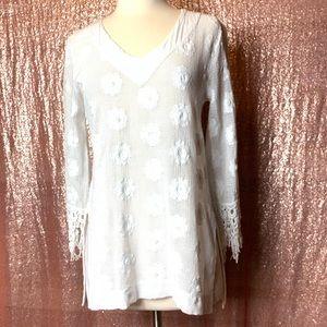 Language White Crocheted Swim Coverup Dress